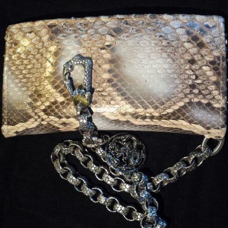 HD Custom Jewelry NEWS- portafoglio in pitone con catena in argento - 01