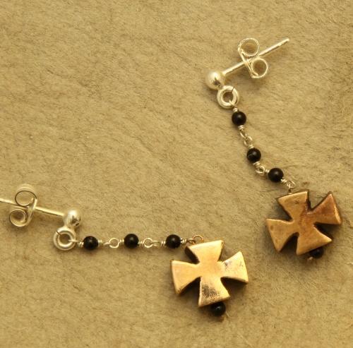 IMG_orecchini argento e croce di malta in bronzo